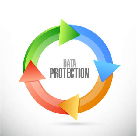 changing room: Data Protection cycle sign illustration design graphic