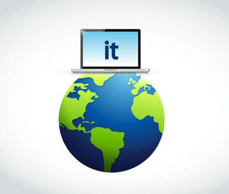 Technologie de l'information autour du globe concept illustration design graphique Banque d'images - 59972533