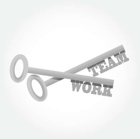 la union hace la fuerza: el trabajo en equipo claves establecidas ejemplo del diseño gráfico Vectores