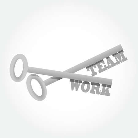 team work set keys illustration design graphic