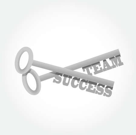 la union hace la fuerza: el éxito del equipo teclas conjunto ilustración diseño gráfico