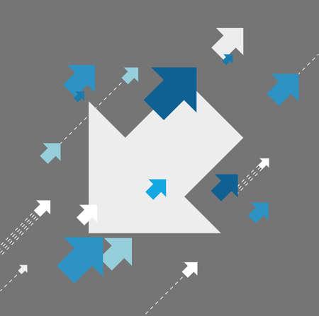 no edges: changing directions. concept illustration design grey background