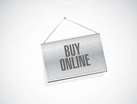 hanging banner: buy online hanging banner sign illustration design graphic