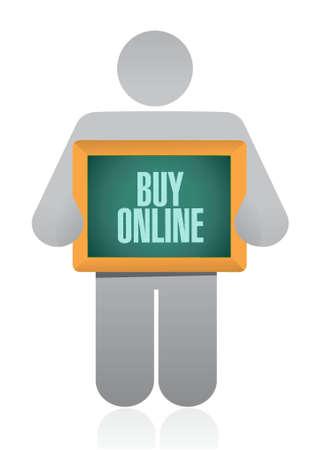 buy online holding sign illustration design graphic Illustration