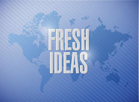 concept and ideas: Fresh Ideas world map sign concept illustration design graphic