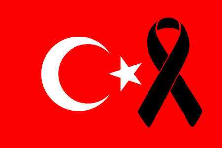 turkish flag: turkish flag and black ribbon illustration graph design Illustration
