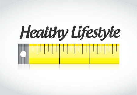 healthy lifestyle measuring tape concept illustration design graphic