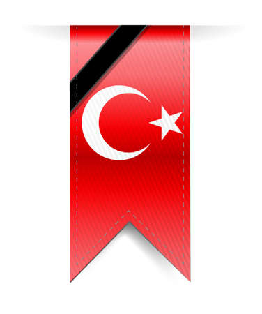 turkish flag: turkish flag hanging banner and black ribbon illustration graph design Illustration