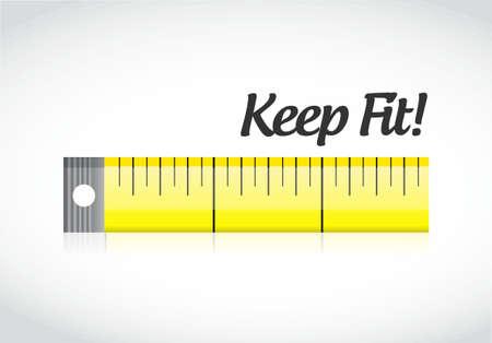 mantenerse en forma de cinta de medición ilustración del concepto de diseño gráfico