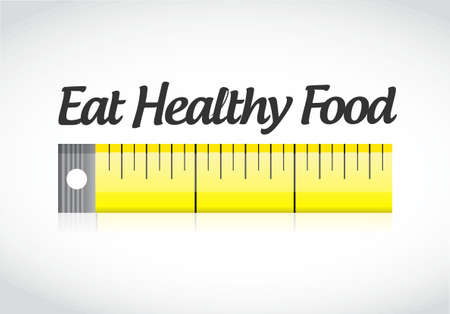 eat healthy food measuring tape concept illustration design graphic