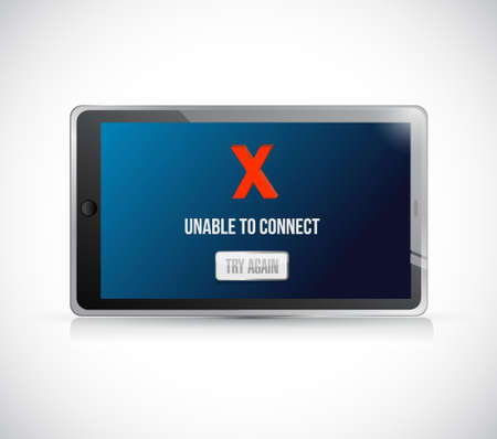 tablet unable to connect message sign concept illustration design