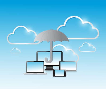 umbrella electronics protection sign concept illustration design graphic