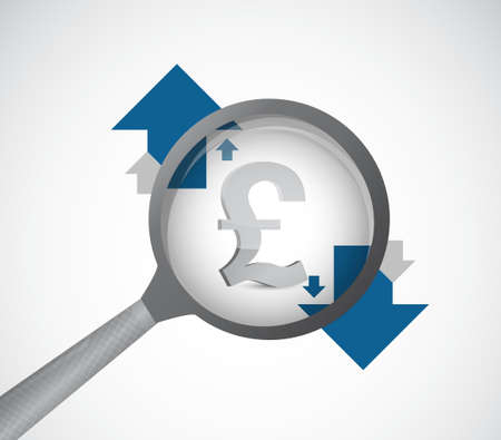 british pound: British pound currency under review. magnify detail investigation concept illustration