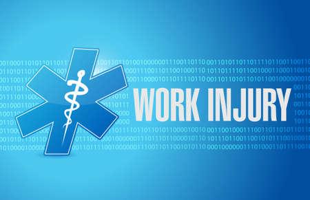 Working injury background sign concept graphic illustration design