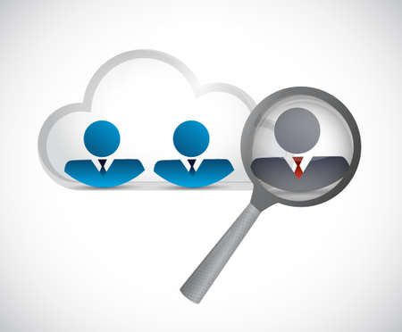 finding the right candidate on a cloud network concept illustration design graphic