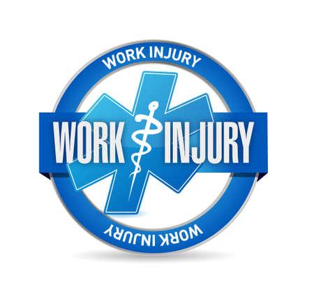 Working injury seal sign concept graphic illustration design Illustration