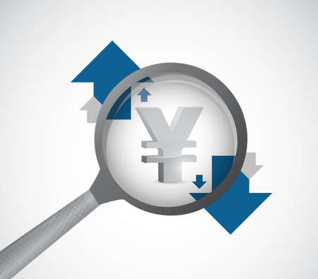 yen currency under review. magnify detail investigation concept illustration Illustration