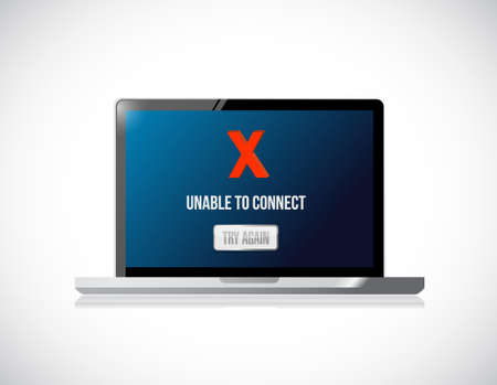 computer unable to connect message sign concept illustration design