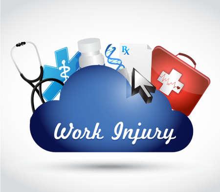 biological: Working injury cloud network sign concept graphic illustration design