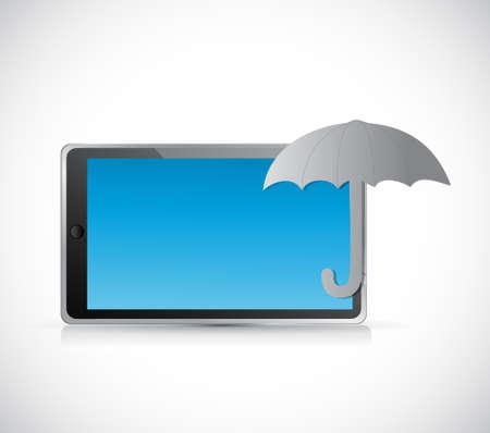 umbrella tablet protection sign concept illustration design graphic