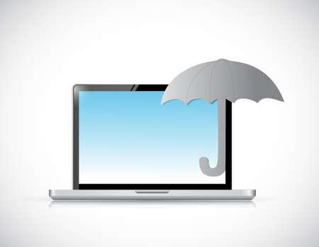 umbrella protection. computer sign concept illustration design graphic