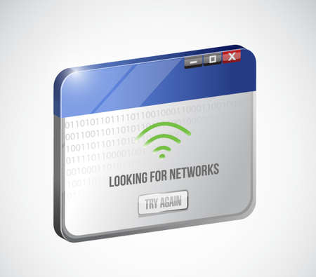 telecommunications technology: browser looking for networks message sign concept illustration design