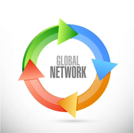 turning the page: global network cycle sign concept illustration design graphic Illustration