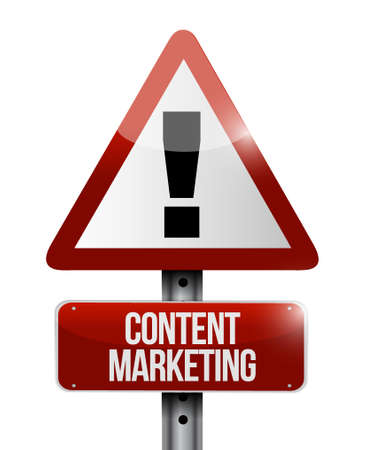 article marketing: content marketing warning sign concept illustration design graphic