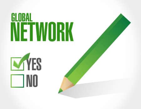color selection: global network approval sign concept illustration design graphic Illustration