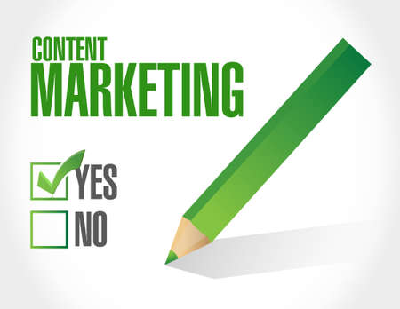 article marketing: content marketing approval sign concept illustration design graphic
