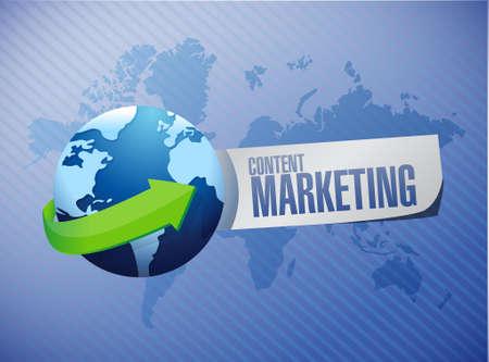 article marketing: content marketing global sign concept illustration design graphic Illustration