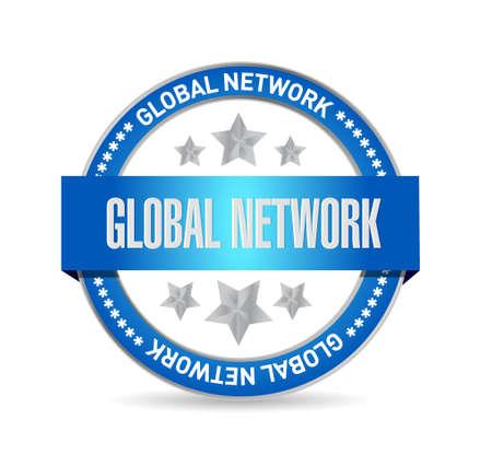 internet mark: global network seal sign concept illustration design graphic