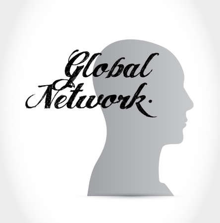global thinking: global network thinking brain sign concept illustration design graphic Illustration