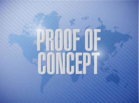 prove: proof of concept world map sign concept illustration design graphic