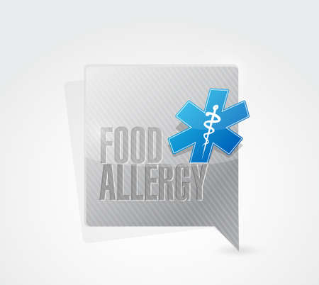 food allergy: food allergy message sign illustration design graphic