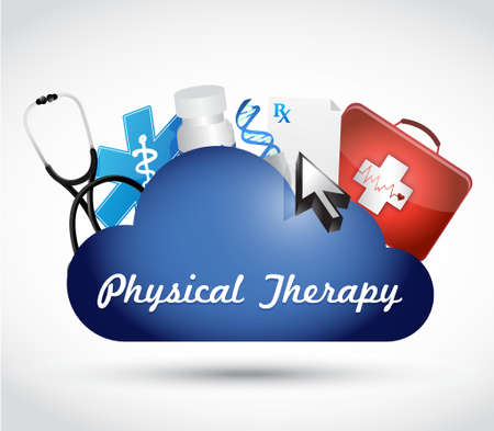 physical exam: physical therapy medical cloud isolated sign illustration design graphic