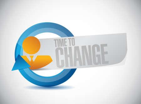 Temps de changer homme d'affaires signe isolé concept illustration design graphique Banque d'images - 61151034