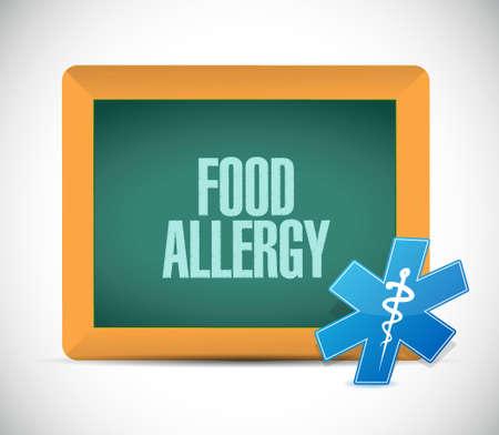 food allergy: food allergy chalkboard sign illustration design graphic Illustration