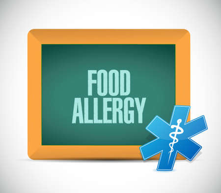 allergenic: food allergy chalkboard sign illustration design graphic Illustration