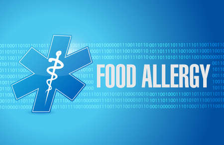 food allergy: food allergy binary background sign concept illustration concept design graphic