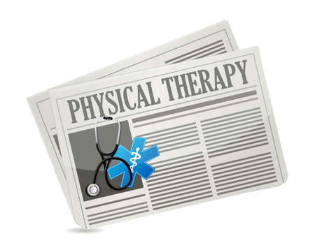 doctors and patient: physical therapy medical symbol and newspaper isolated sign illustration design graphic