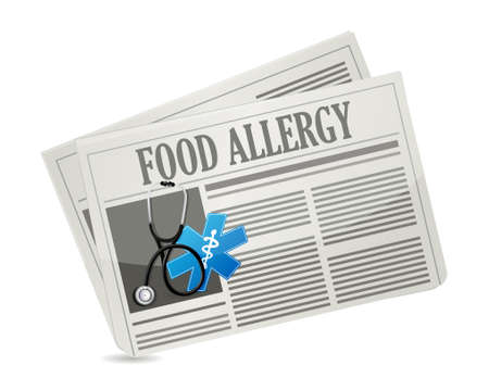 food allergy: food allergy newspaper sign illustration design graphic