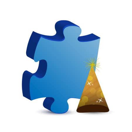 puzzle piece and hat illustration concept design graphic
