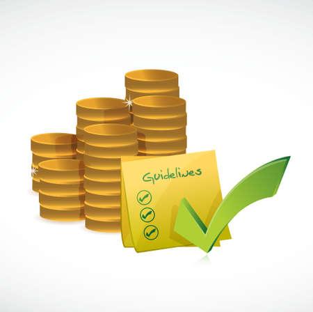 istruzione: le monete e le linee guida lista di controllo illustrazione grafica