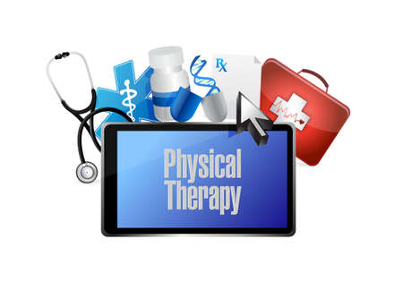 medical sign: physical therapy medical technology isolated sign illustration design graphic Illustration