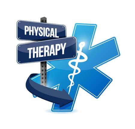 terapia fisica simbolo medico isolato segno illustrazione grafica