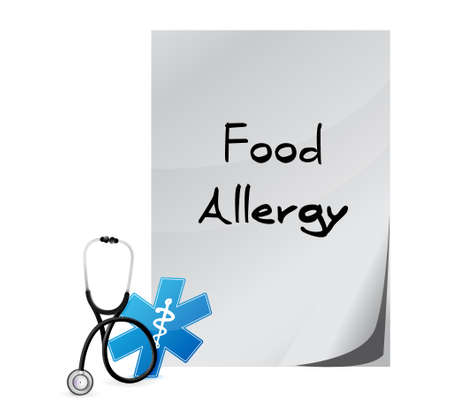 allergenic: food allergy message sign illustration concept design graphic Illustration