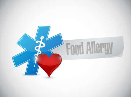 allergenic: food allergy heart sign illustration design graphic