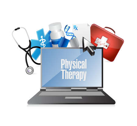 doctors and patient: physical therapy medical technology isolated sign illustration design graphic Illustration