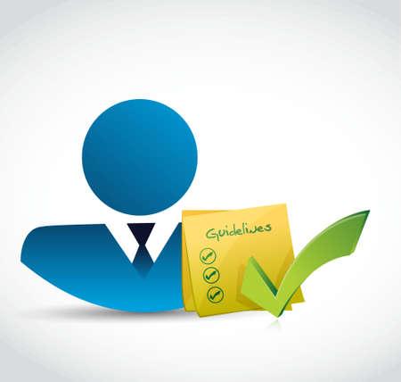 zakenman en richtlijnen checklist illustratie grafisch